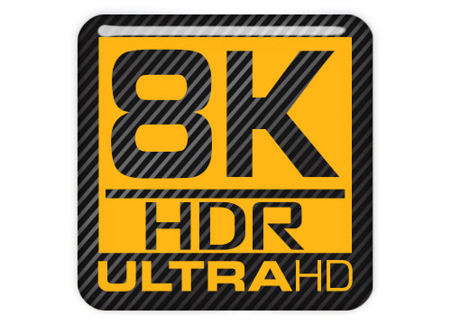 "8k HDR ULTRA HD 1""x1"" Chrome Effect Domed Case Badge / Sticker Logo"
