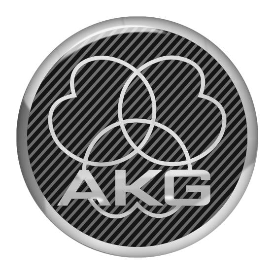 "AKG Black 1.5"" Diameter Round Chrome Effect Domed Case Badge / Sticker Logo"