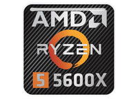 "AMD Ryzen 5 5600X 1""x1"" Chrome Effect Domed Case Badge / Sticker Logo"