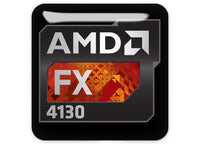 "AMD FX 4130 1""x1"" Chrome Effect Domed Case Badge / Sticker Logo"