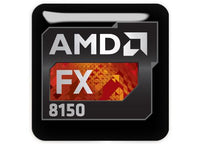 "AMD FX 8150 1""x1"" Chrome Effect Domed Case Badge / Sticker Logo"
