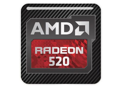 "AMD Radeon 520 1""x1"" Chrome Effect Domed Case Badge / Sticker Logo"