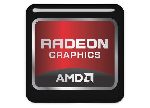 "AMD Radeon Graphics 1""x1"" Chrome Effect Domed Case Badge / Sticker Logo"