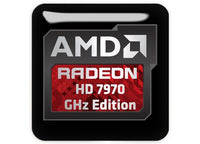 "AMD Radeon HD 7970 GHz Edition 1""x1"" Chrome Effect Domed Case Badge / Sticker Logo"