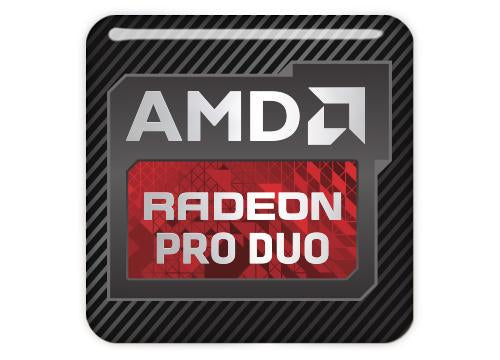 "AMD Radeon PRO DUO 1""x1"" Chrome Effect Domed Case Badge / Sticker Logo"