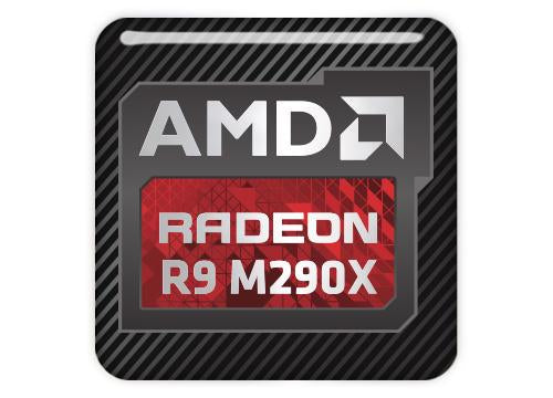 "AMD Radeon R9 M290X 1""x1"" Chrome Effect Domed Case Badge / Sticker Logo"