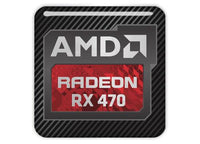 "AMD Radeon RX 470 1""x1"" Chrome Effect Domed Case Badge / Sticker Logo"