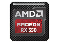 "AMD Radeon RX 550 1""x1"" Chrome Effect Domed Case Badge / Sticker Logo"