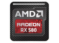 "AMD Radeon RX 580 1""x1"" Chrome Effect Domed Case Badge / Sticker Logo"