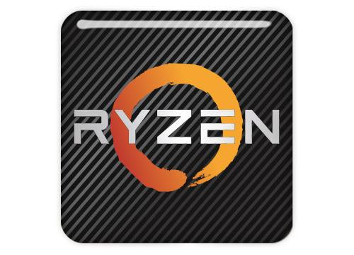 "AMD Ryzen 1""x1"" Chrome Effect Domed Case Badge / Sticker Logo"