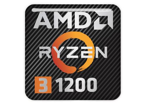 "AMD Ryzen 3 1200 1""x1"" Chrome Effect Domed Case Badge / Sticker Logo"