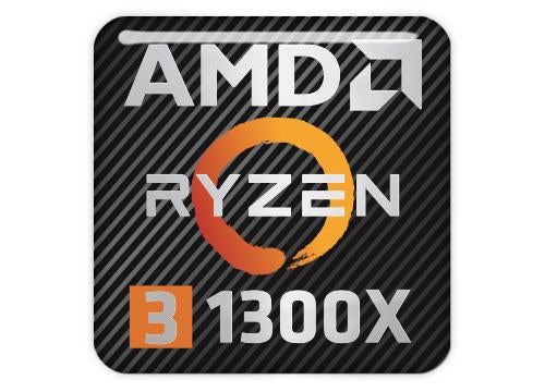 "AMD Ryzen 3 1300X 1""x1"" Chrome Effect Domed Case Badge / Sticker Logo"
