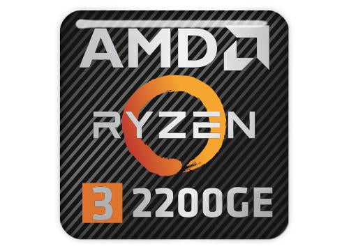 "AMD Ryzen 3 2200GE 1""x1"" Chrome Effect Domed Case Badge / Sticker Logo"