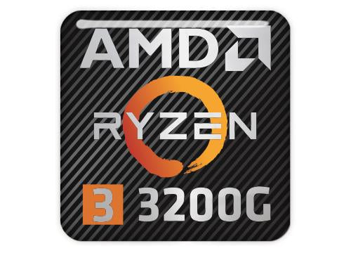 "AMD Ryzen 3 3200G 1""x1"" Chrome Effect Domed Case Badge / Sticker Logo"