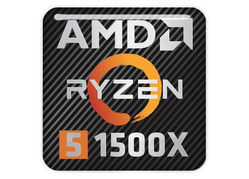 "AMD Ryzen 5 1500X 1""x1"" Chrome Effect Domed Case Badge / Sticker Logo"