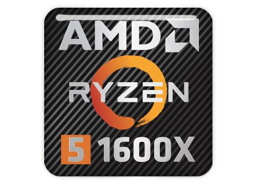 "AMD Ryzen 5 1600X 1""x1"" Chrome Effect Domed Case Badge / Sticker Logo"