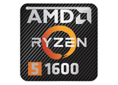 "AMD Ryzen 5 1600 1""x1"" Chrome Effect Domed Case Badge / Sticker Logo"
