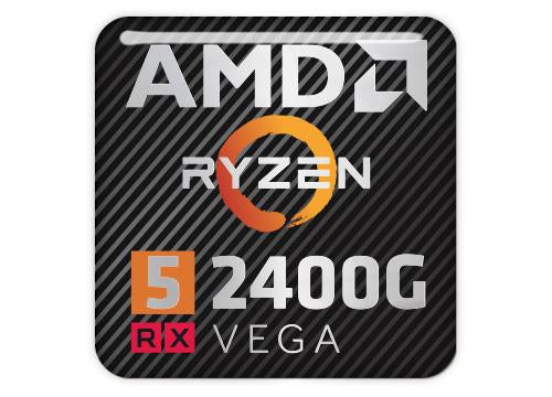 "AMD Ryzen 5 2400G RX Vega 1""x1"" Chrome Effect Domed Case Badge / Sticker Logo"
