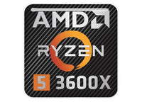 "AMD Ryzen 5 3600X 1""x1"" Chrome Effect Domed Case Badge / Sticker Logo"