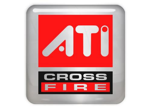 "ATI Cross Fire 1""x1"" Chrome Effect Domed Case Badge / Sticker Logo"