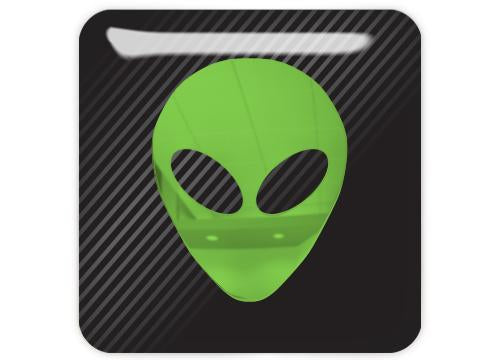"Alien Green 1""x1"" Chrome Effect Domed Case Badge / Sticker Logo"