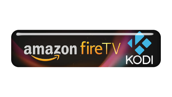 "Amazon FireTV Kodi (XBMC) 2""x0.5"" Chrome Effect Domed Case Badge / Sticker Logo"