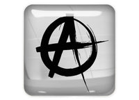 "Anarchist logo 1""x1"" Chrome Effect Domed Case Badge / Sticker Logo"