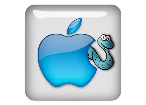 "Apple Worm 1""x1"" Chrome Effect Domed Case Badge / Sticker Logo"