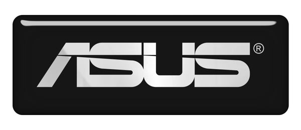 "Asus 2.75""x1"" Chrome Effect Domed Case Badge / Sticker Logo"