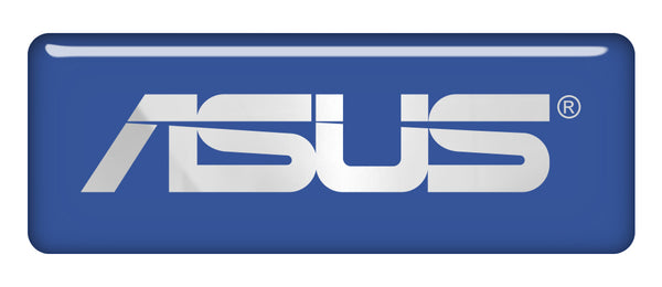 "Asus Blue 2.75""x1"" Chrome Effect Domed Case Badge / Sticker Logo"