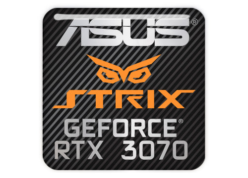 "Asus Strix GeForce RTX 3070 1""x1"" Chrome Effect Domed Case Badge / Sticker Logo"