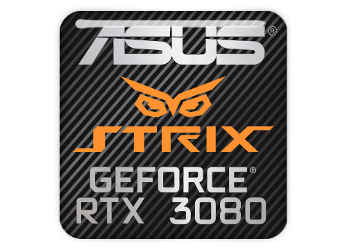 "Asus Strix GeForce RTX 3080 1""x1"" Chrome Effect Domed Case Badge / Sticker Logo"