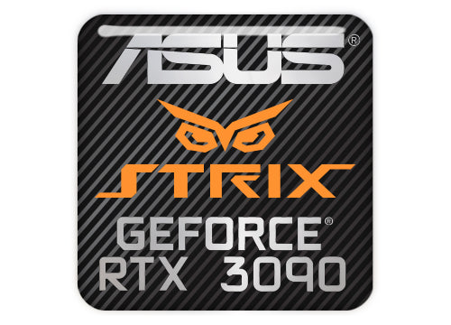 "Asus Strix GeForce RTX 3090 1""x1"" Chrome Effect Domed Case Badge / Sticker Logo"