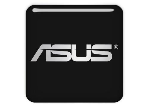 "Asus Black 1""x1"" Chrome Effect Domed Case Badge / Sticker Logo"