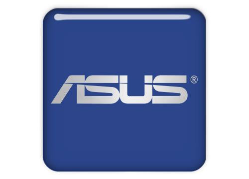 "Asus Blue 1""x1"" Chrome Effect Domed Case Badge / Sticker Logo"