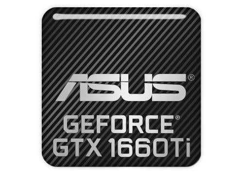 "Asus GeForce GTX 1660 Ti 1""x1"" Chrome Effect Domed Case Badge / Sticker Logo"