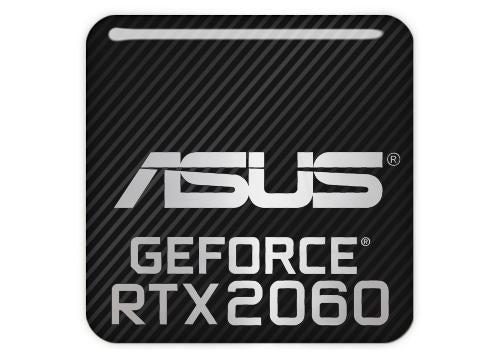 "Asus GeForce RTX 2060 1""x1"" Chrome Effect Domed Case Badge / Sticker Logo"