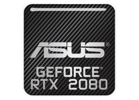 "Asus GeForce RTX 2080 1""x1"" Chrome Effect Domed Case Badge / Sticker Logo"
