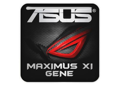 "Asus ROG MAXIMUS XI GENE 1""x1"" Chrome Effect Domed Case Badge / Sticker Logo"