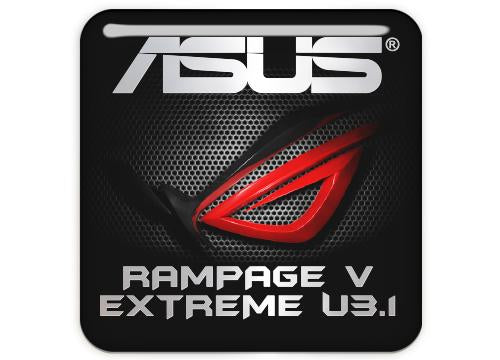 "Asus ROG RAMPAGE V EXTREME U3.1 1""x1"" Chrome Effect Domed Case Badge / Sticker Logo"