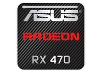 "Asus Radeon RX 470 1""x1"" Chrome Effect Domed Case Badge / Sticker Logo"