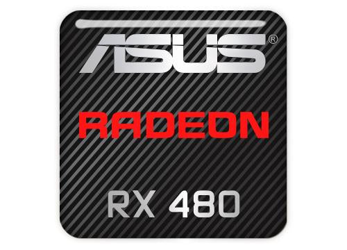 "Asus Radeon RX 480 1""x1"" Chrome Effect Domed Case Badge / Sticker Logo"