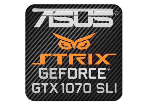 "Asus Strix GeForce GTX 1070 SLI 1""x1"" Chrome Effect Domed Case Badge / Sticker Logo"
