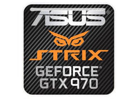"Asus Strix GeForce GTX 970 1""x1"" Chrome Effect Domed Case Badge / Sticker Logo"