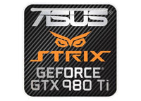 "Asus Strix GeForce GTX 980 Ti 1""x1"" Chrome Effect Domed Case Badge / Sticker Logo"