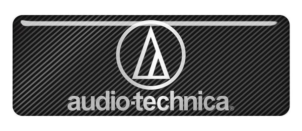 "Audio-Technica 2.75""x1"" Chrome Effect Domed Case Badge / Sticker Logo"