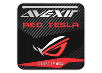 "Avexir Red Tesla 1""x1"" Chrome Effect Domed Case Badge / Sticker Logo"