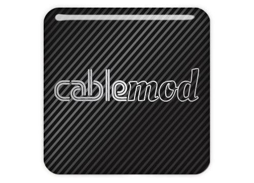 "Cablemod 1""x1"" Chrome Effect Domed Case Badge / Sticker Logo"