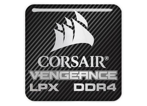 "Corsair Vengeance LPX DDR4 1""x1"" Chrome Effect Domed Case Badge / Sticker Logo"