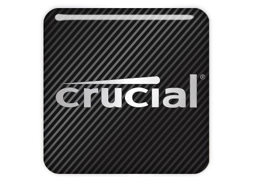 "Crucial 1""x1"" Chrome Effect Domed Case Badge / Sticker Logo"